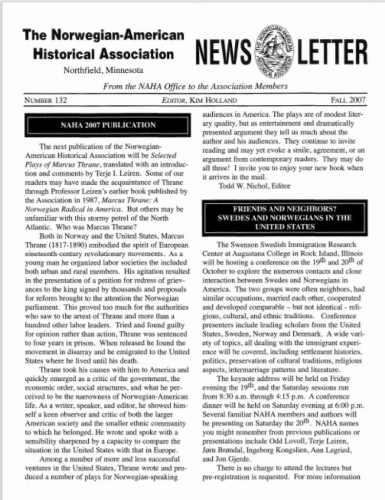 cover of fall 2007 newsletter