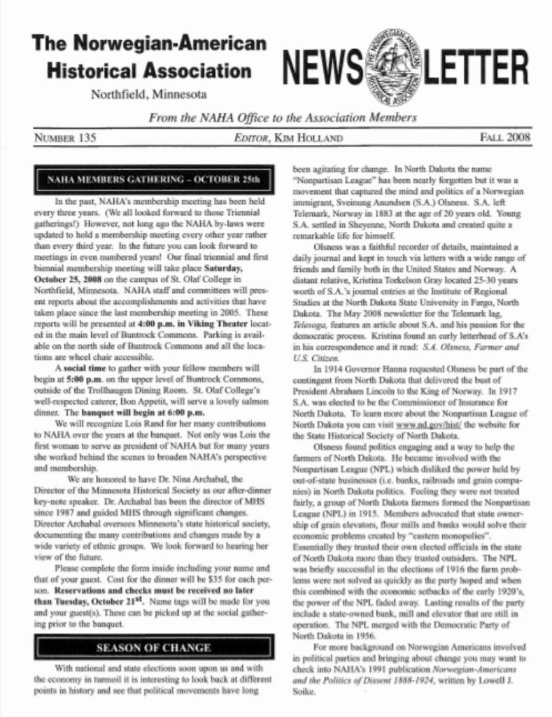 cover of fall 2008 newsletter