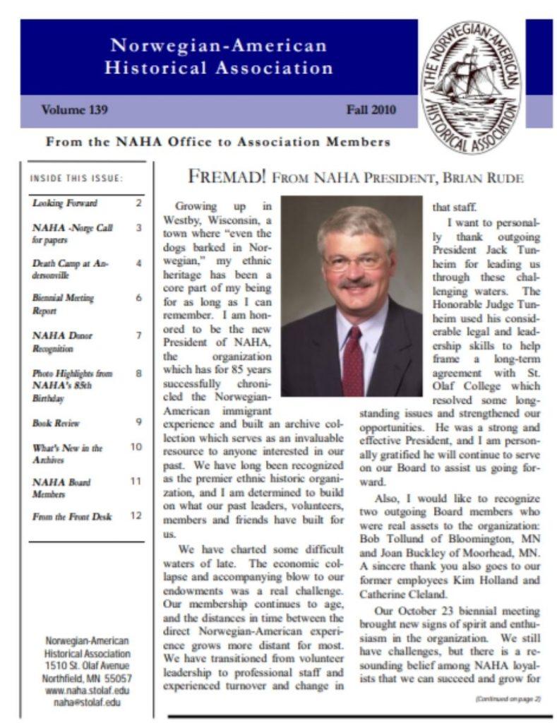 cover for fall 2010 newsletter