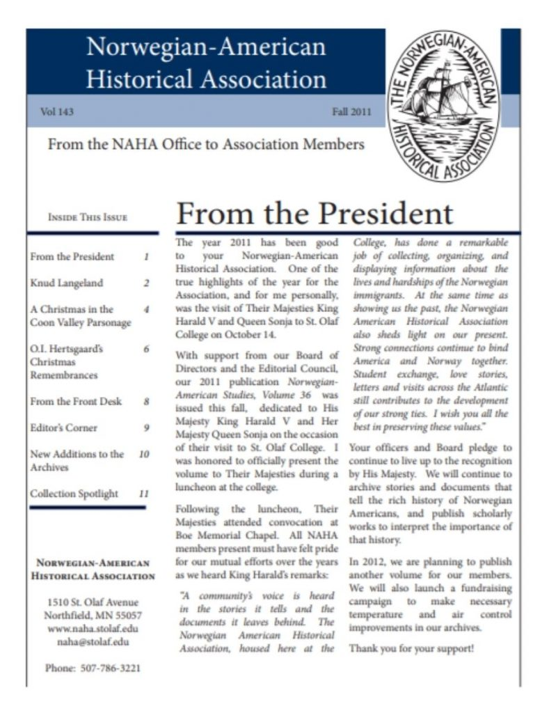 cover of fall 2011 newsletter