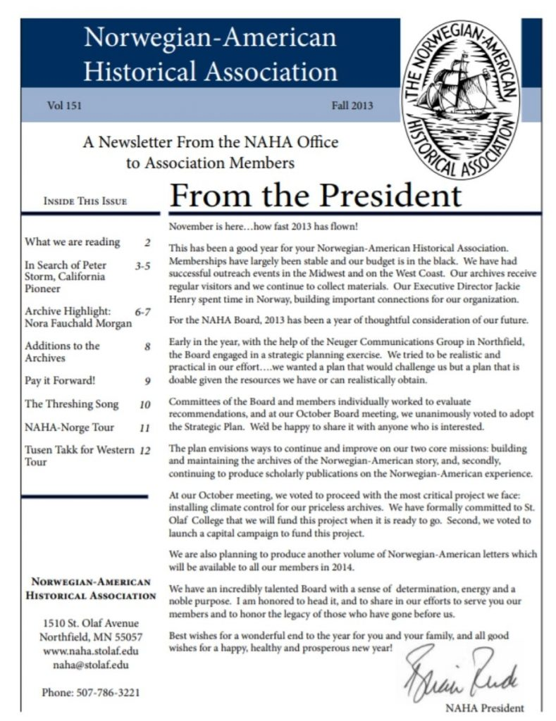 cover of fall 2013 newsletter