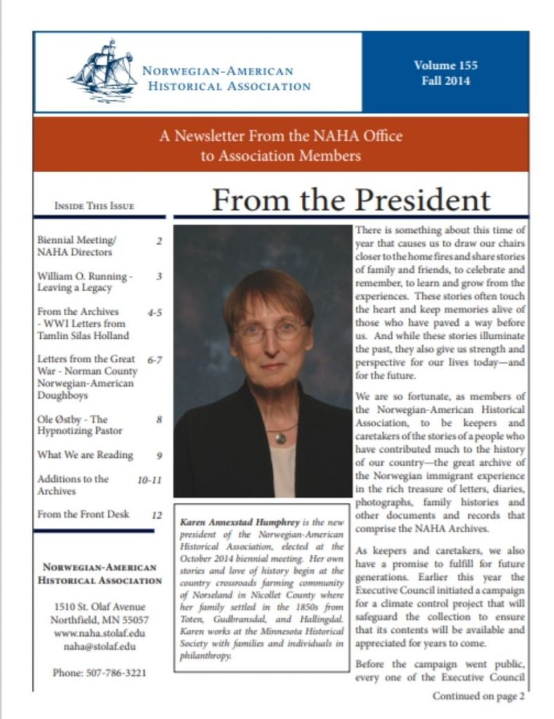 cover of fall 2014 newsletter