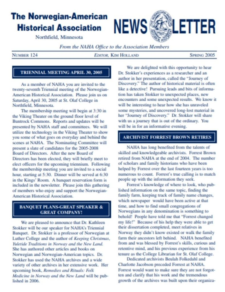 cover of spring 2005 newsletter