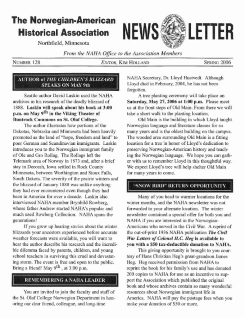 cover of spring 2006 newsletter