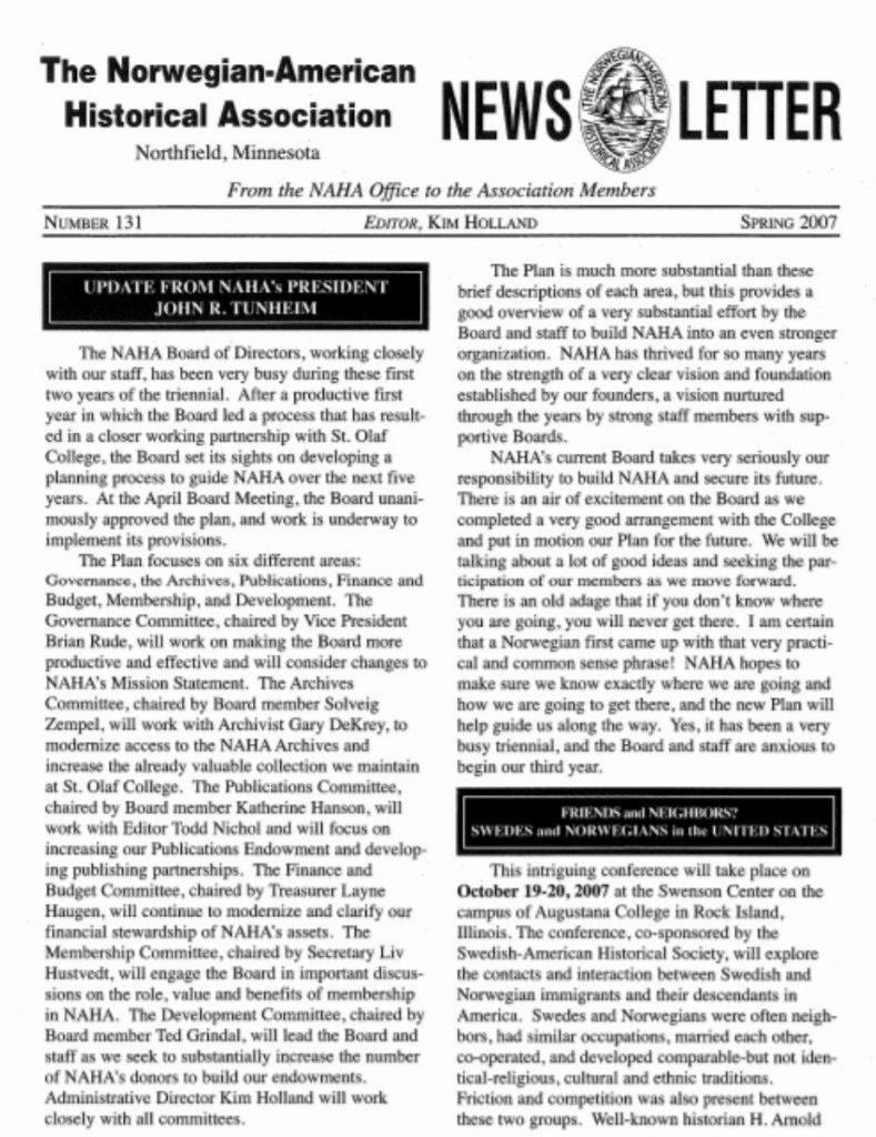 cover of spring 2007 newsletter