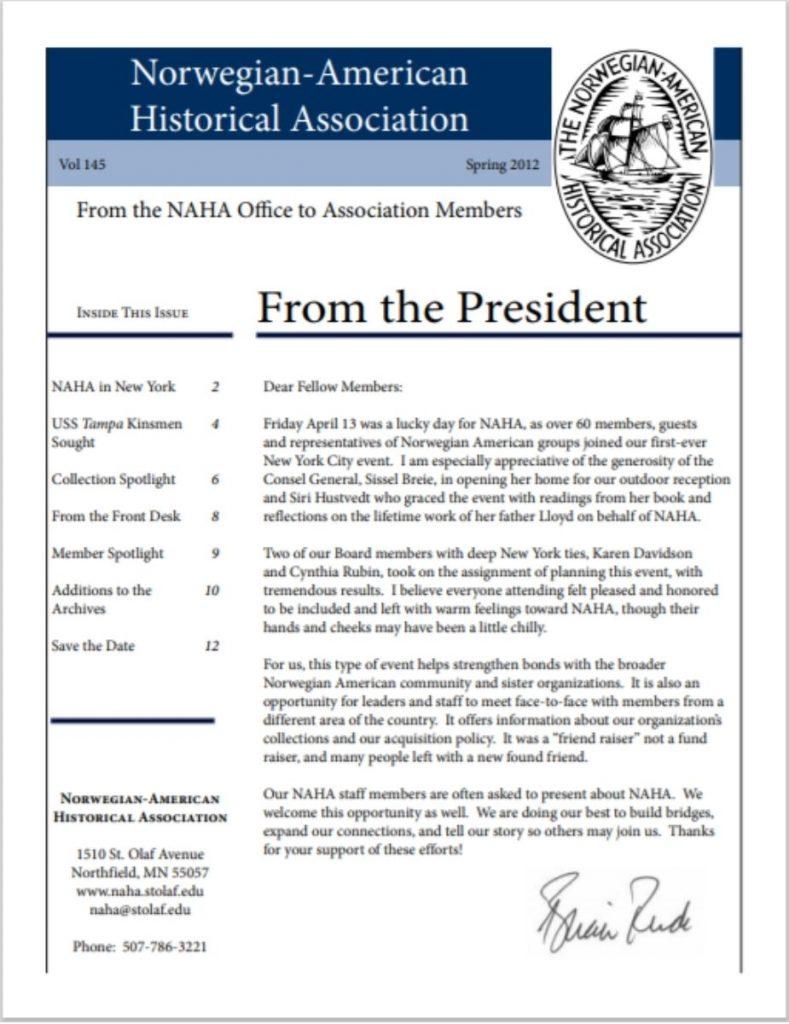 cover of spring 2012 newsletter