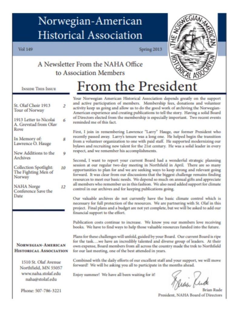 cover of spring 2013 newsletter