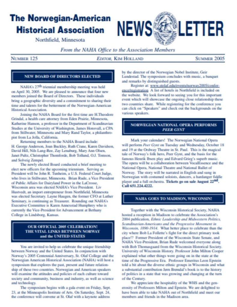 cover of summer 2005 newsletter