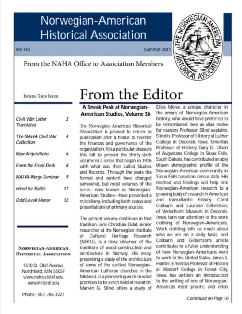cover of summer 2011 newsletter