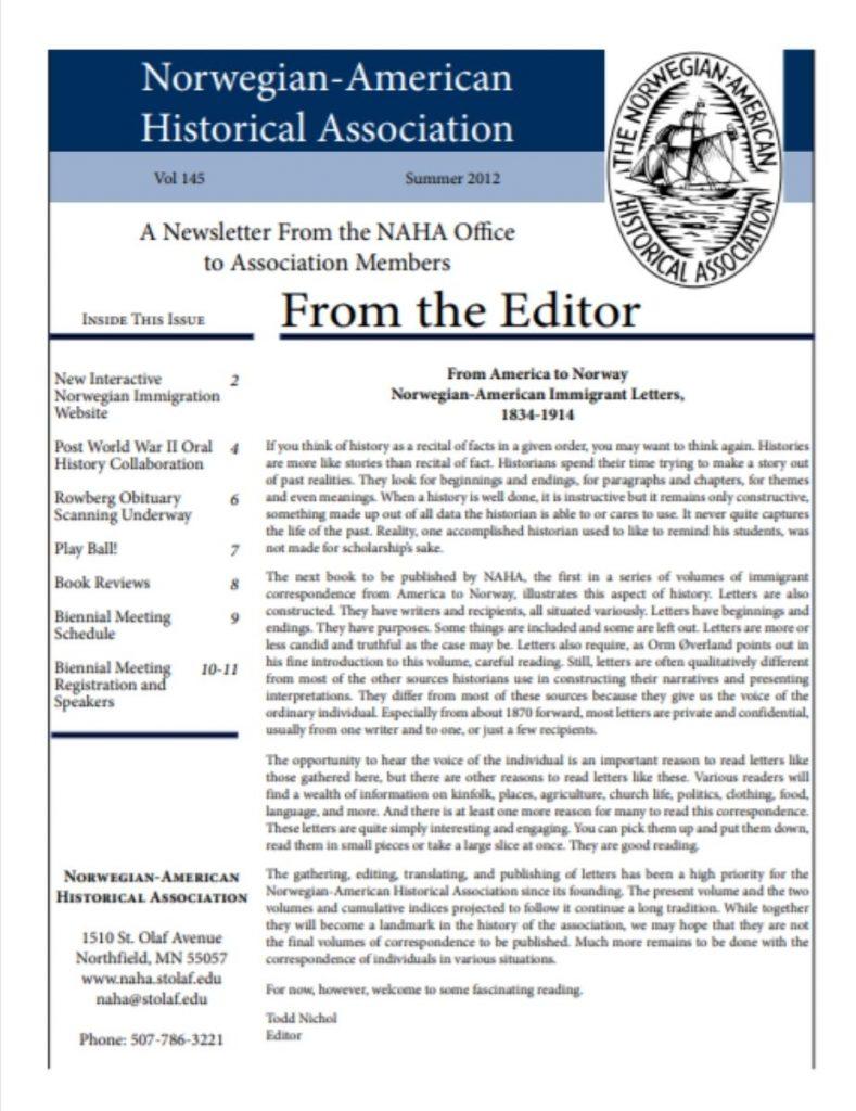 cover of summer 2012 newsletter