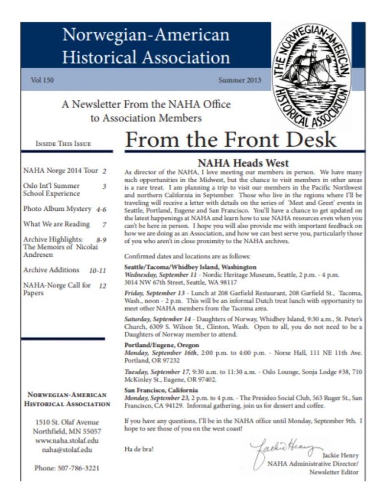 cover of summer 2013 newsletter