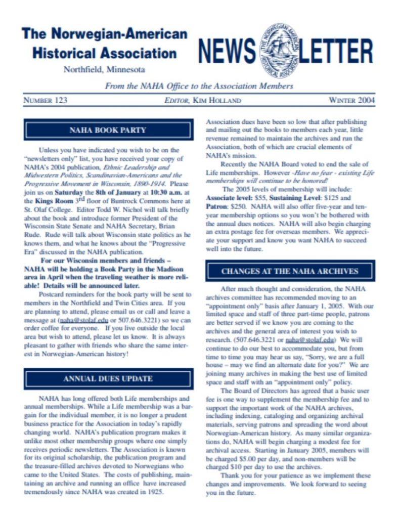 cover of winter 2004 newsletter