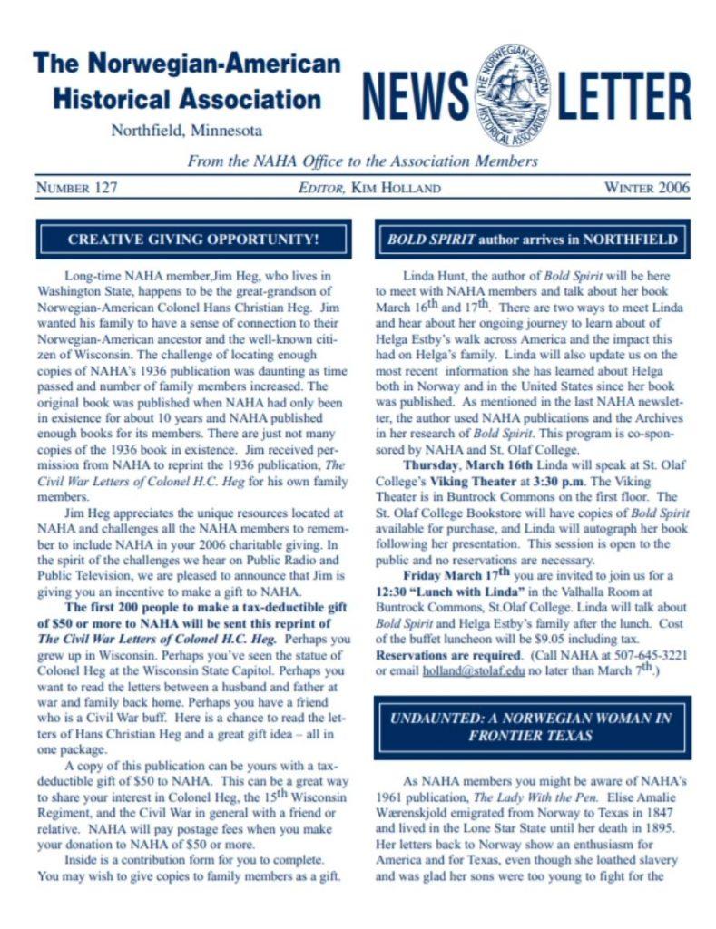 cover of winter 2006 newsletter