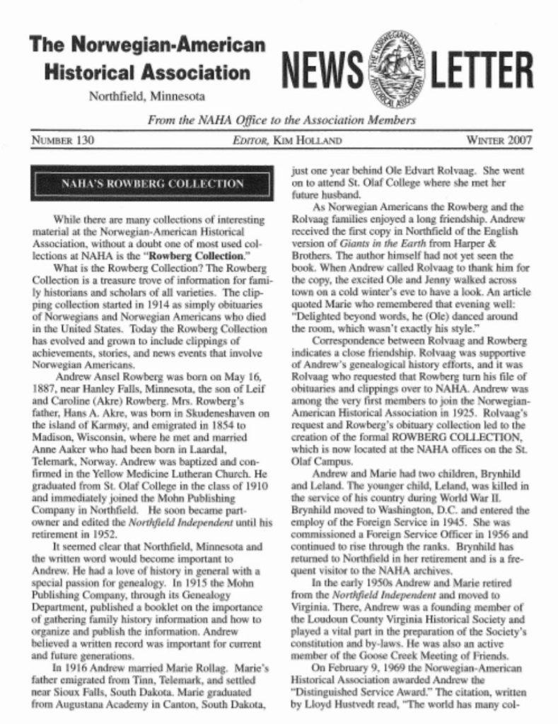 cover of winter 2007 newsletter