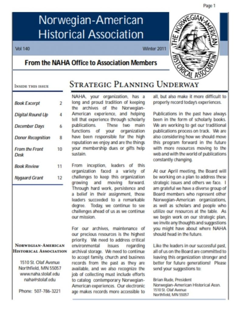 cover of winter 2011 newsletter