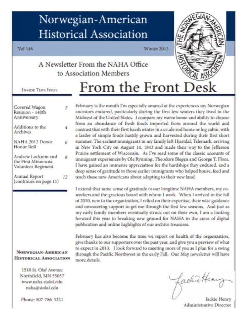 cover of winter 2013 newsletter