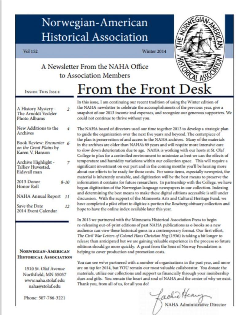 cover of winter 2014 newsletter