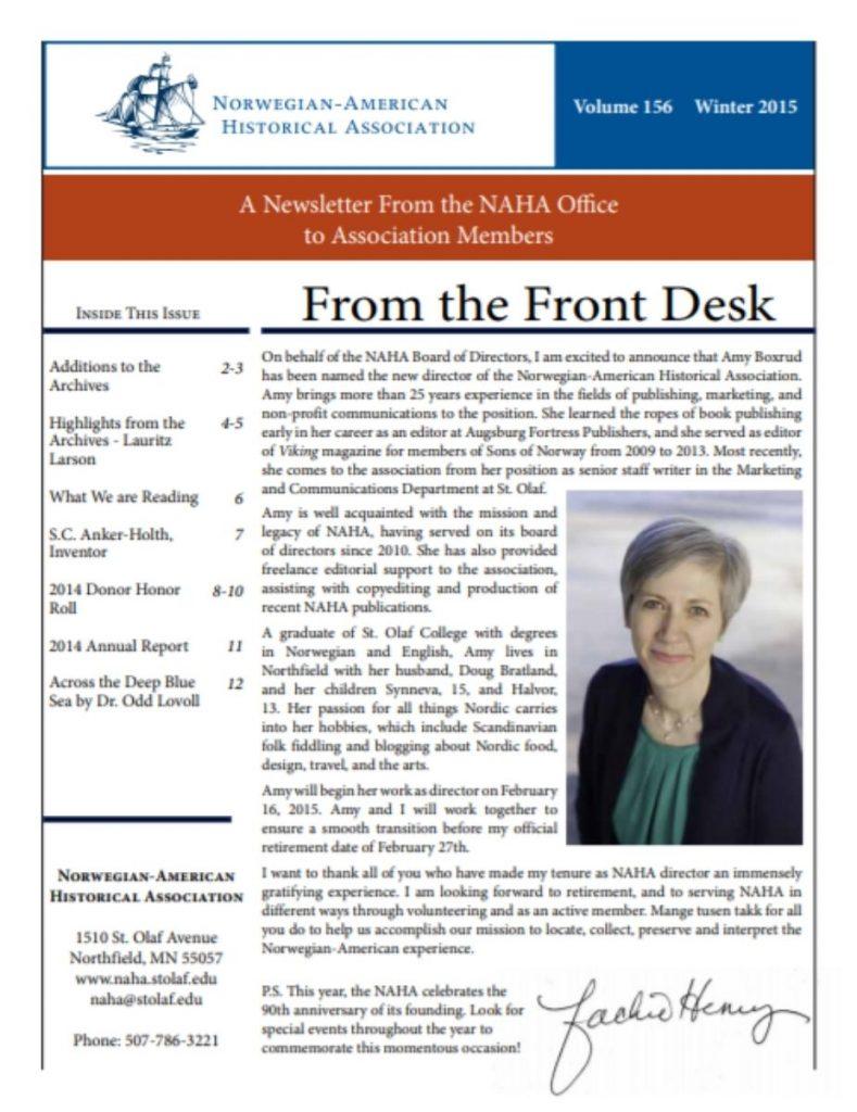 cover of winter 2015 newsletter